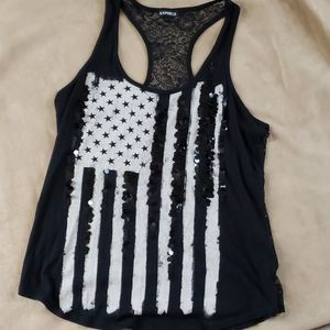 American flag lace back tank